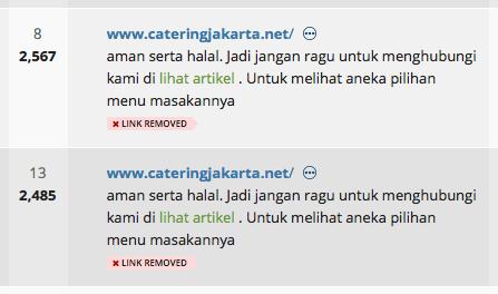 Contoh backlink ber-genre spamming.