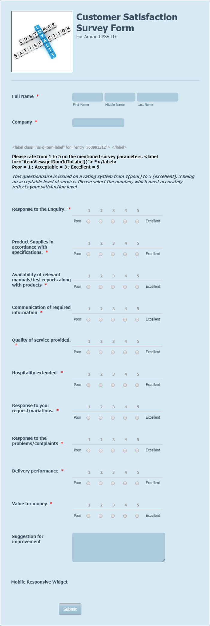 Contoh Kuesioner Online Customer Satisfaction Survey Form