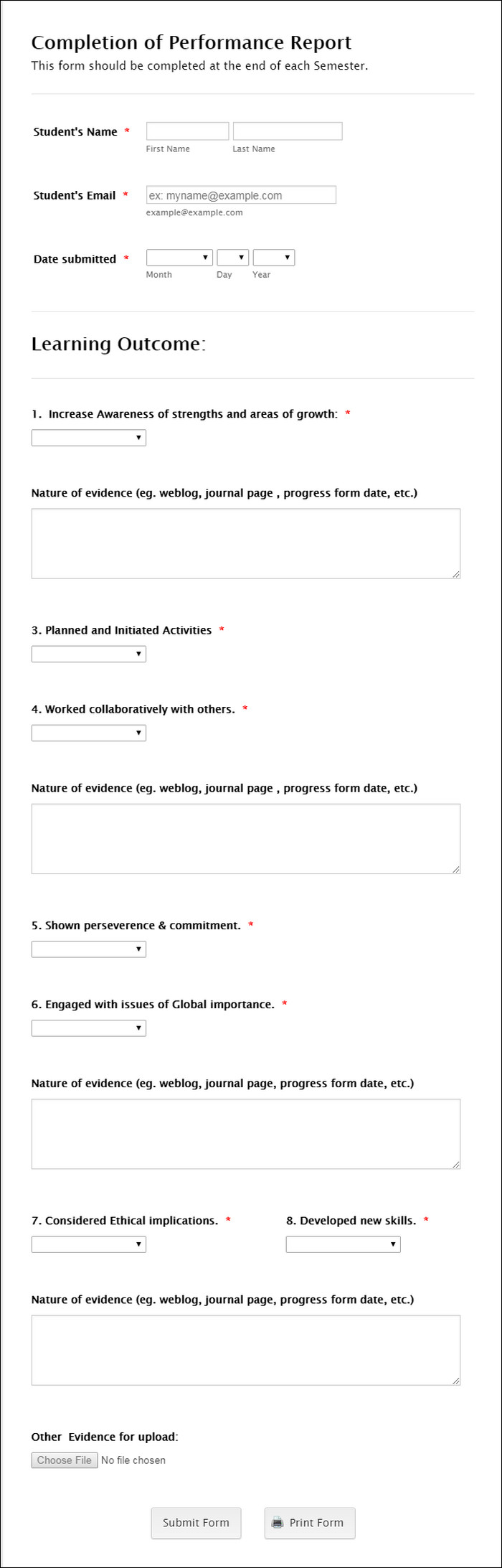 Contoh Kuesioner Online Universitas Student Perfomance Evaluation