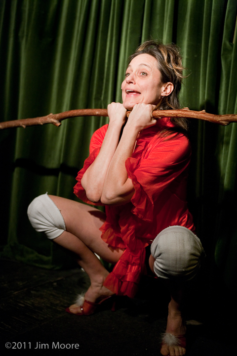 Eliza Ladd at 'tinydangerousfun' performing her Needle Hang piece.