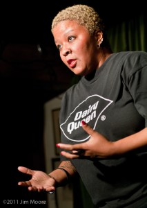 Mollena tells her stories to the audience at 'tinydangerousfun'.