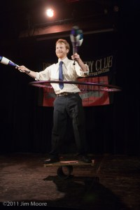 Kyle Petersen performs his juggling act at Loose Caboose.