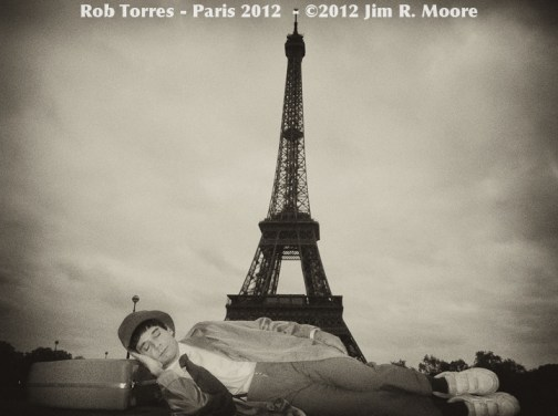 Rob Torres performs in the streets of Paris, France