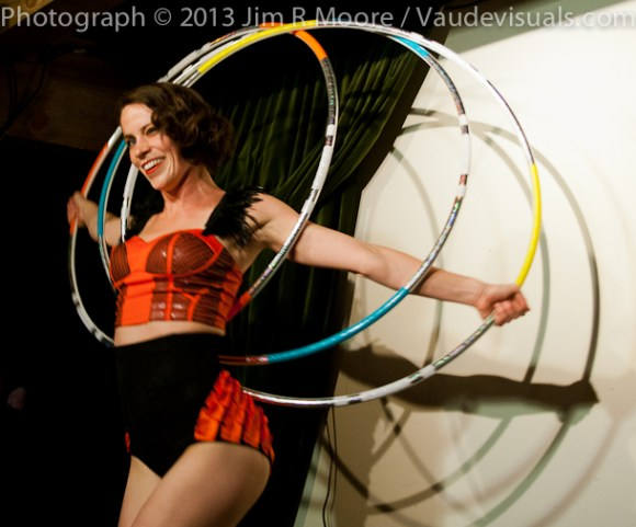 Malia Walsh performs amazing hula hoop act.