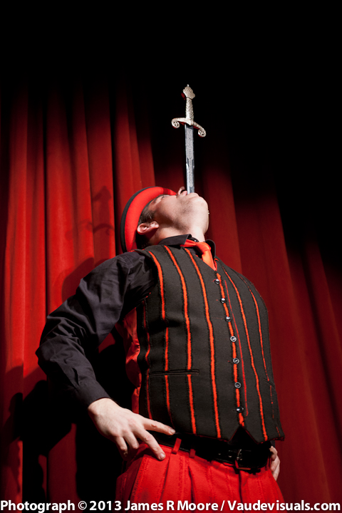 Keith Nelson did sword swallowing for the audience.