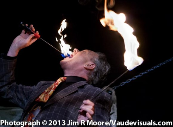 Todd Robbins starts off the 2nd half of the show with 'fire eating'