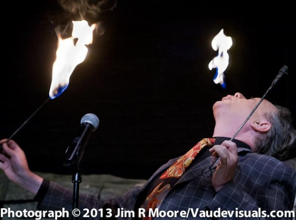 Lighting up the stage with amazing skills of fire eating.