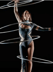 Irina Burdetsky performing Hula Hoop act.