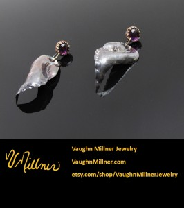 Amethyst and Repousse Earrings