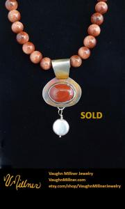 Carnelian and Pearl Pendant SOLD