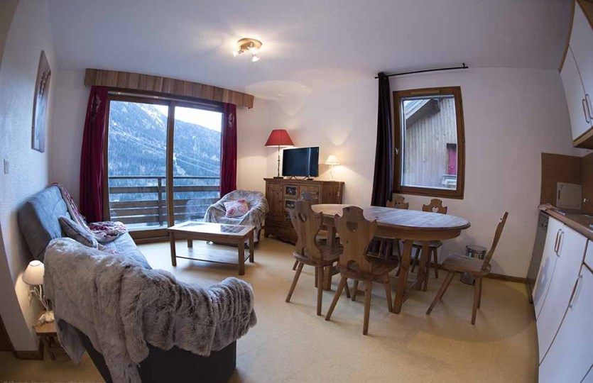 Logement plein centre vaujany locations, séjour et vue sur le domaine de l'alpe d