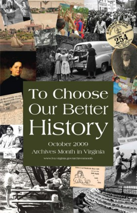 Poster for Archives Month in Virginia, 2009