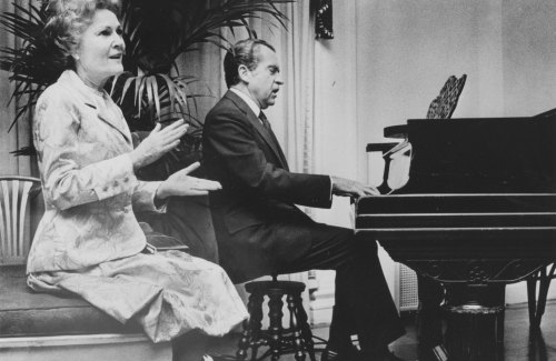 Pat Nixon sings while Richard Nixon plays the piano at a White House event (November 1973). Oliver F. Atkins photograph collection, Box 27, Folder 7. George Mason University. Libraries. Special Collections & Archives. Copyright not held by George Mason University Libraries. Restricted to personal, non-commercial use only. For permission to publish, contact Special Collections and Archives.