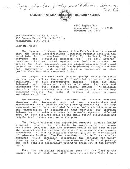 """Document is from League of Women Voters of the Fairfax Area Records, Collection # C0031, Box 14, Folder 01, Page 1/2 of """"Letter from League of Women Voters of the Fairfax Area to Congressman Frank R. Wolf dated November 25, 1985,"""" Special Collections Research Center, George Mason University Libraries."""