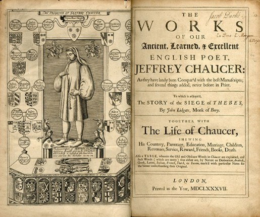 Chaucer, Jeffrey, The Works of Our Ancient, Learned, & Excellent English Poet, Jeffrey Chaucer , PR1850 1687, Special Collections Research Center.
