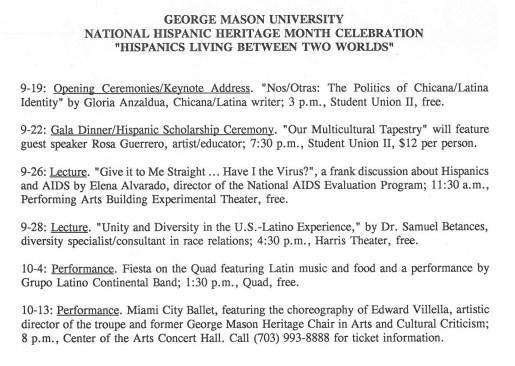 George Mason University celebrates Hispanic Heritage Month in September 1995. Office of University Relations, Collection # R0004, Box 56, Folder 29, Page 3/3, Special Collections Research Center, George Mason University Libraries.