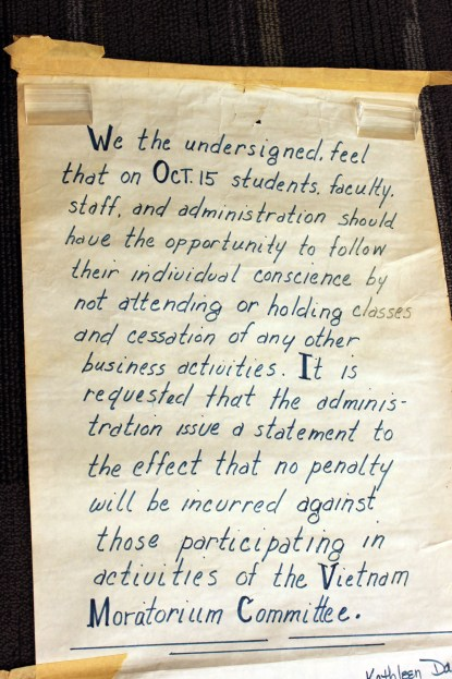 Moratorium Petition. From the George Mason University Office of the President records, 1949-2004 #R0019.