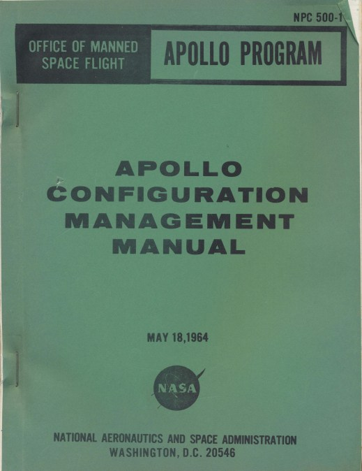 Apollo Configuration Management Manual, Martin Sedlazek NASA Collection, C0293, Box 6, Folder 9, Special Collections Research Center, George Mason University Libraries.