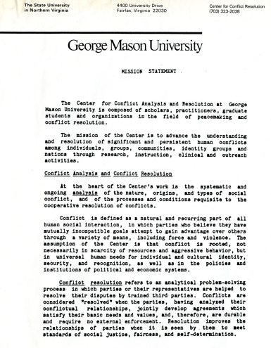 """""""Mission Statement"""". James H. Laue papers, Collection #C0055, Box 5, Folder 02, Special Collections Research Center, George Mason University Libraries."""