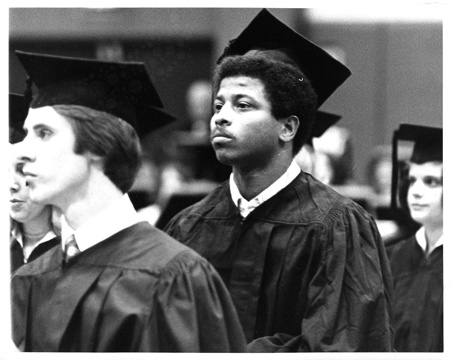 An African American student at Winter Graduation, January 17, 1975