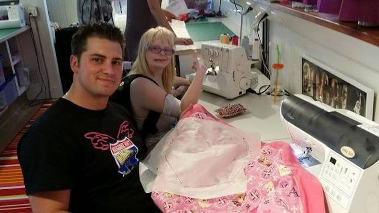 Curtis Hargrove (left) sews blankets with Angel Magnussen.