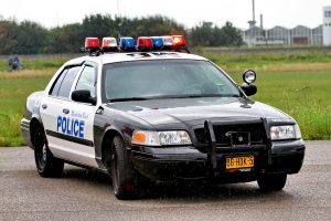 Parked cop car