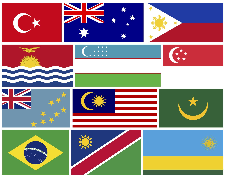 los paises del mundo con sus banderas
