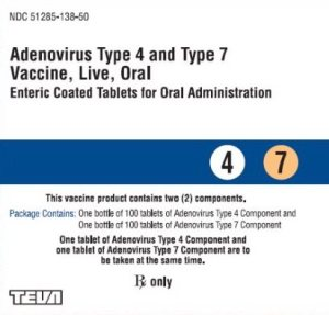 The oral adenovirus vaccine is approved to prevent adenovirus infections in military populations.