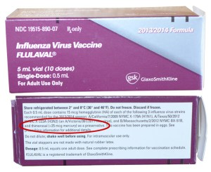 Multi-dose vials of flu vaccine clearly still contain the preservative thimerosal.