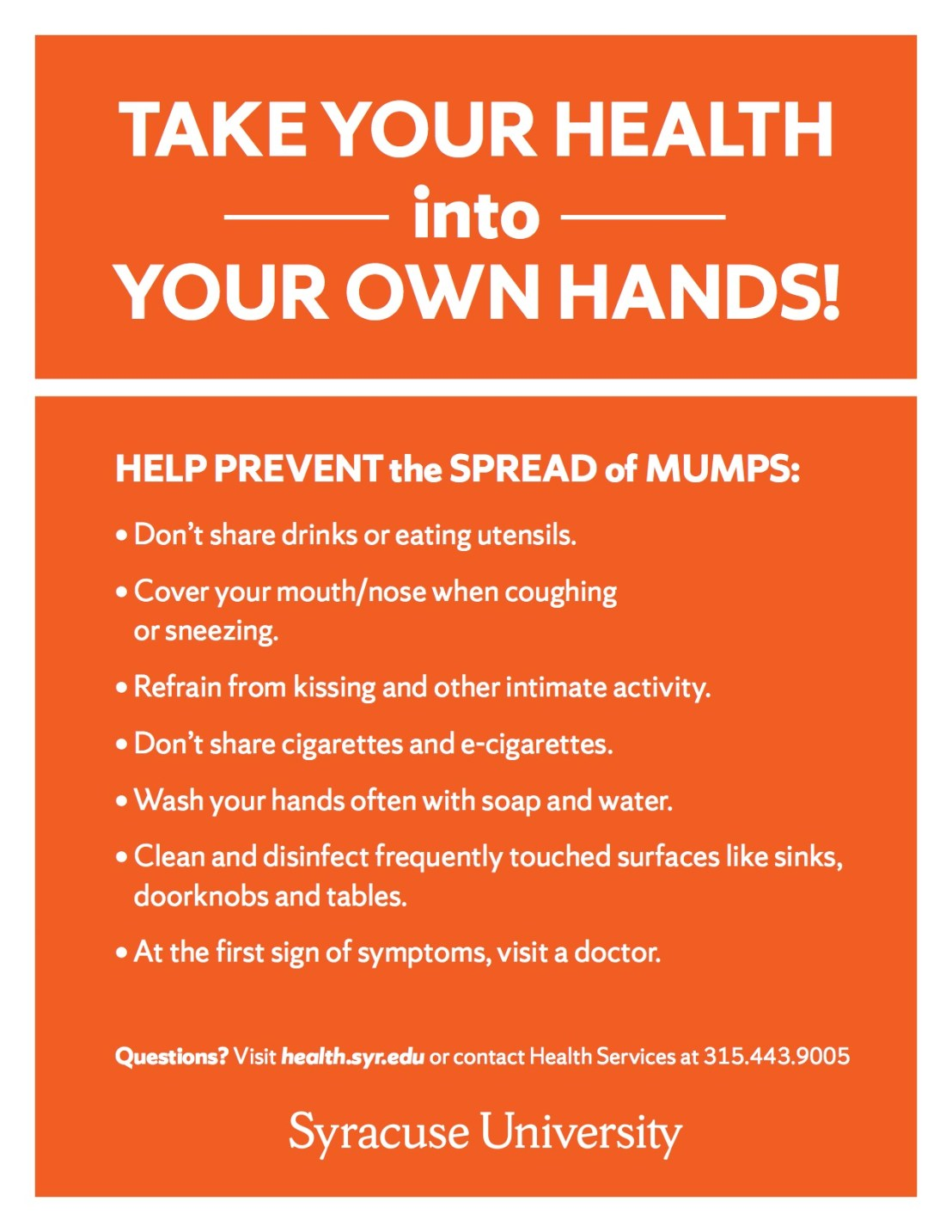 Unfortunately, this Syracuse University poster doesn't mention getting vaccinated...