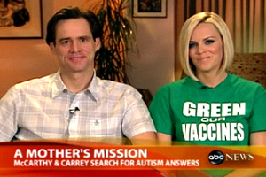Jenny McCarthy and Jim Carrey went on a mission to Green Our Vaccines in 2008.