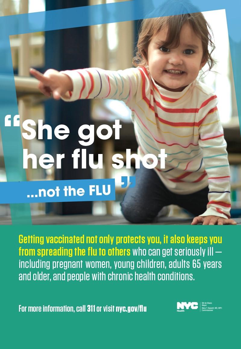 She got her flu shot, not the flu.