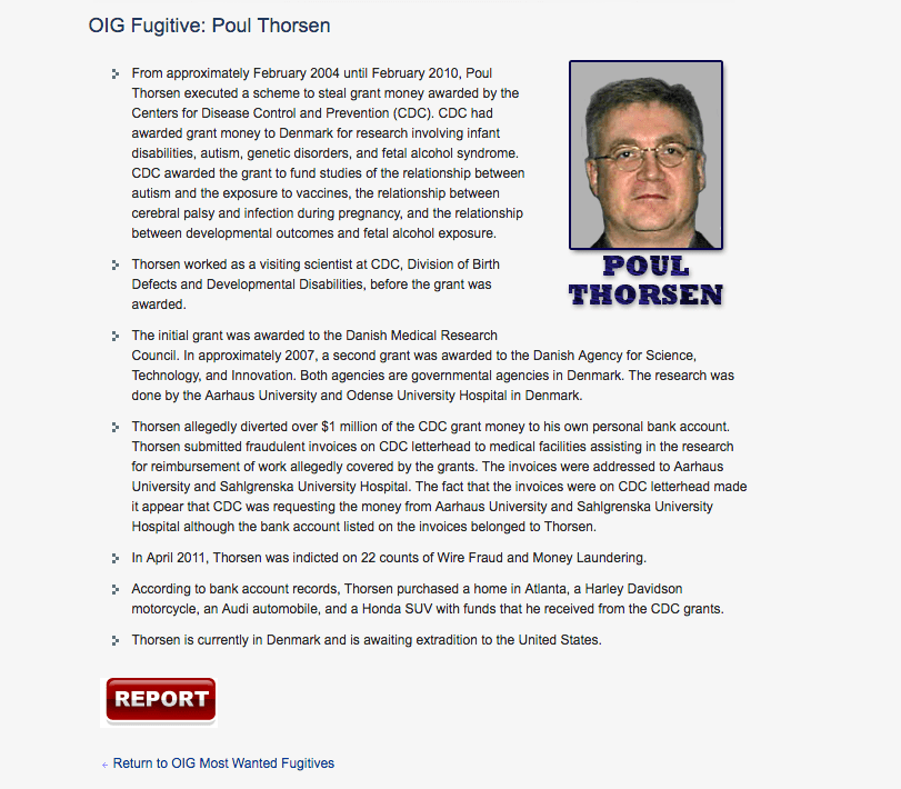 Poul Thorsen is one of the Office of Inspector General's most wanted fugitives.