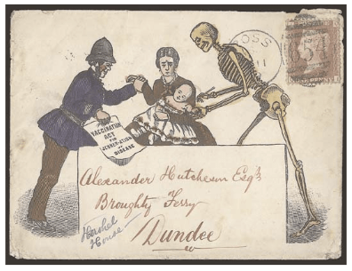 This anti-vaccination caricature envelope was likely issued by the Anti-Vaccination Society in 1879.