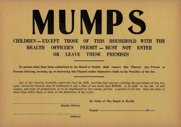 Mumps quarantine sign