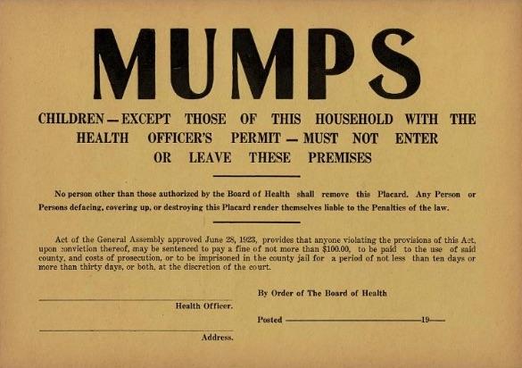 Mumps quarantine sign