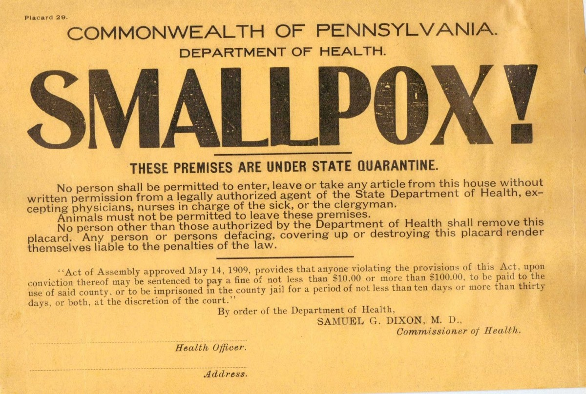 Smallpox quarantine sign