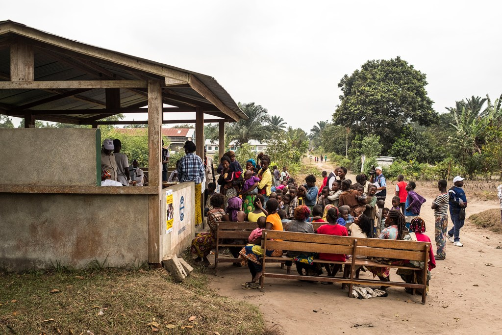 People line up to get a yellow fever vaccine near Kinshasa.