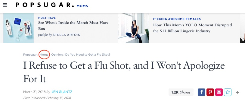 POPSUGAR moms will hopefully go somewhere else for advice about flu shots.