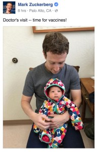 Mark Zuckerberg posted a photo when he took his daughter to their pediatrician for vaccines.