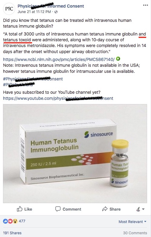 Misinformation about tetanus from the PIC.