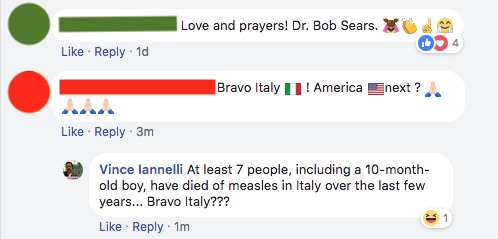 In response to a post praising Italy's decision to dilute their new vaccine laws, some folks thought it was funny that people were dying of measles.