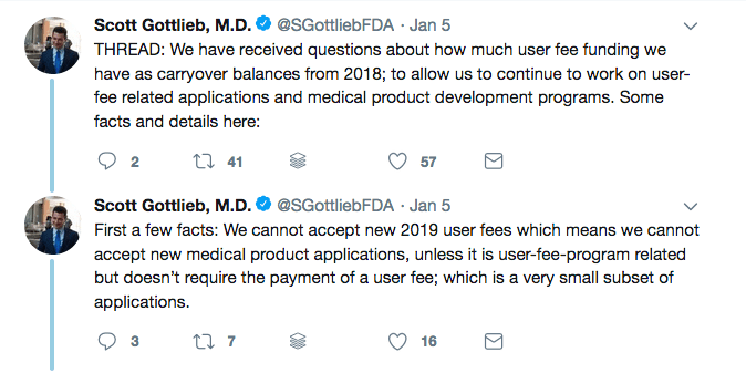 Some of the work at the FDA is done via user fees instead of government funding, but that money is running out and they can't accept new user fees!
