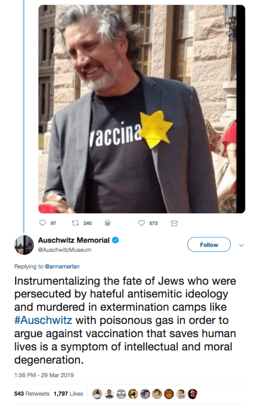 """Del Bigtree wore a yellow star with the words """"No Vax"""" in Hebrew-stylized letters at a 2019 rally in Austin, during the largest measles outbreak since the early '90s."""