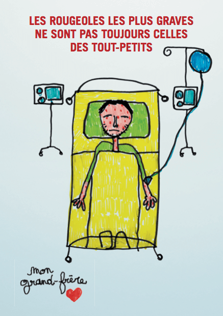 This French poster helped show that measles could be serious for older children and young adults.