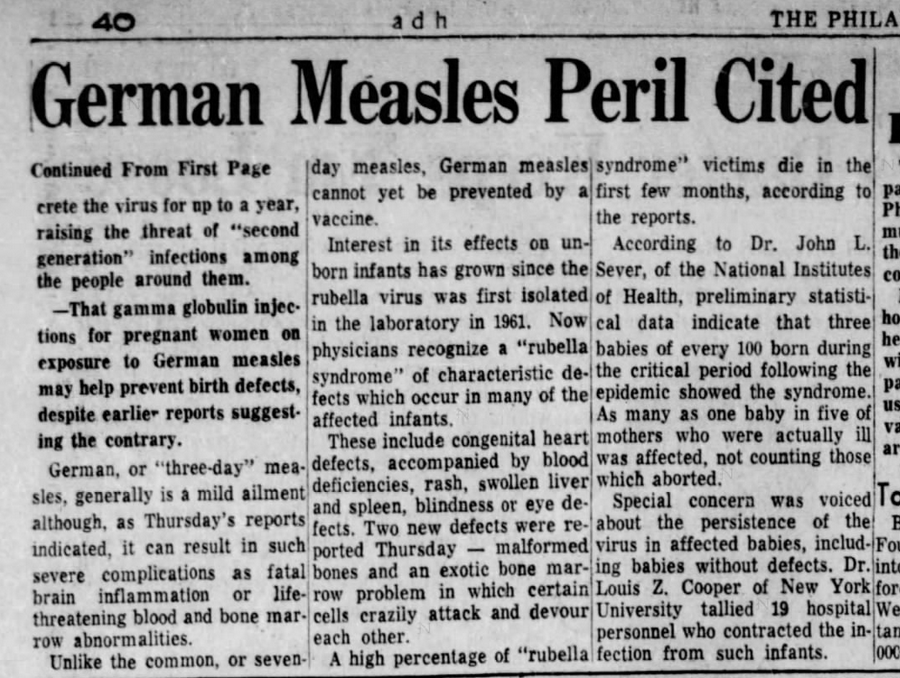 A newspaper article in 1965 warned about the perils of rubella and congenital rubella syndrome.