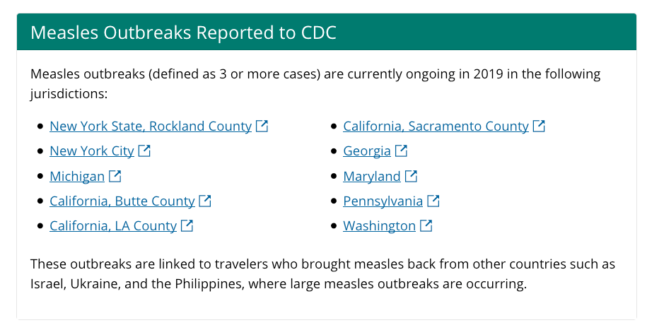 This year's measles cases are spread out in outbreaks in 26 different states. So there isn't only one patient zero...
