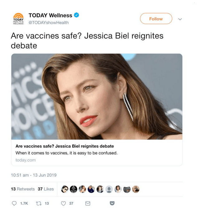 The TODAY Show later deleted this tweet about vaccines.