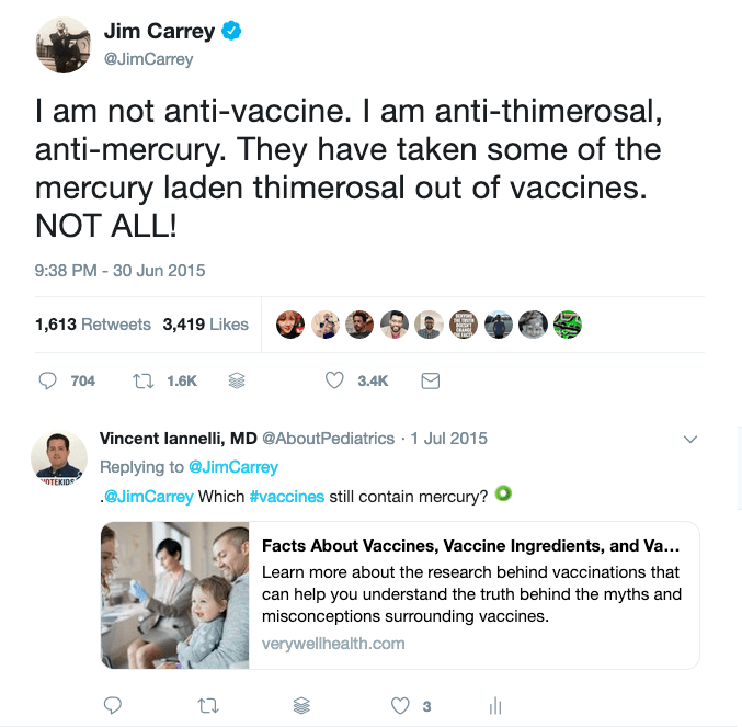 Even Jim Carrey said that he wasn't anti-vaccine!