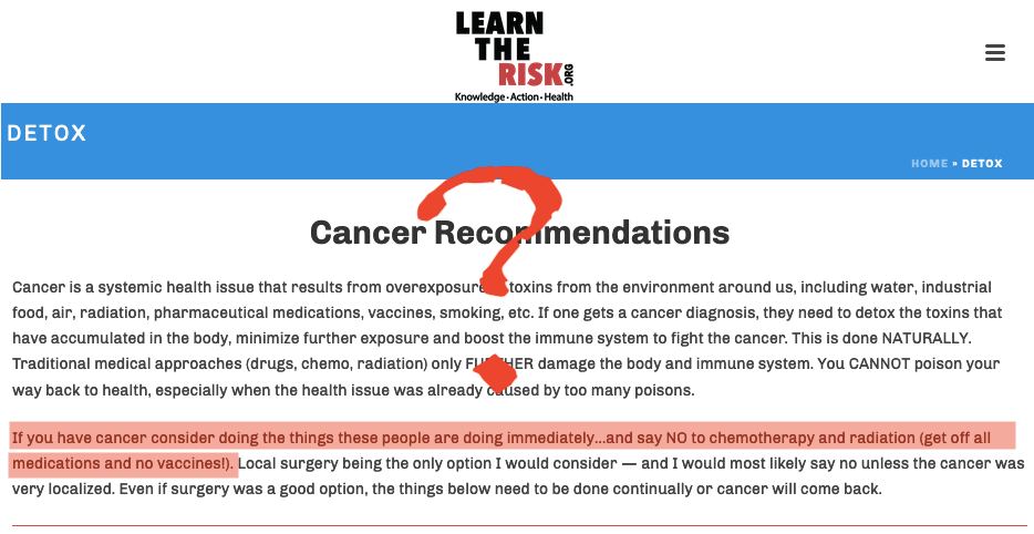 How can these folks publish advice that people with cancer should stop chemotherapy and radiation?!?